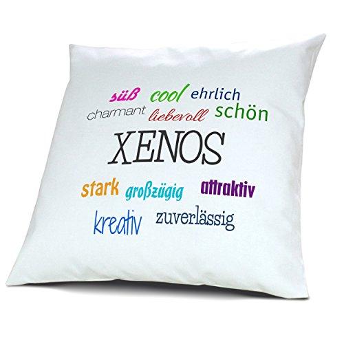 Kopfkissen mit Namen Xenos - Motiv Positive Eigenschaften, 40 cm, 100% Baumwolle, Kuschelkissen, Liebeskissen, Namenskissen, Geschenkidee, Deko