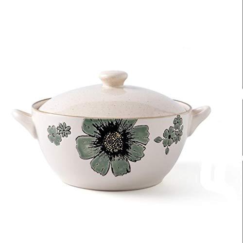Creative Binaural Cover Bowl Large Eating Bowl Ciotola di Ceramica Semplice Ciotola di zuppa (Color : C, Size : 8X20.5CM)