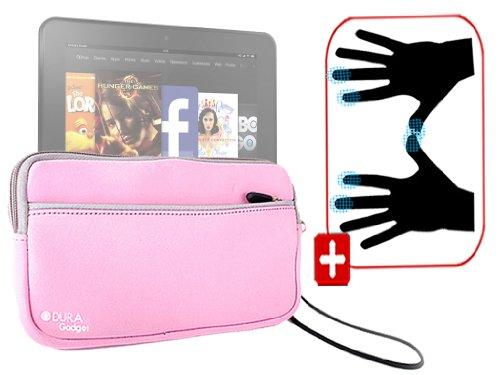 """DURAGADGET Housse étui résistant en néoprène Rose + Gants capacitifs conducteurs Taille S (Petit) pour Nouvelle Tablette Kindle Fire 7"""" et Fire HD d'A"""