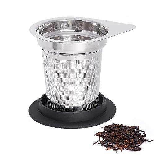 Loseblatt-Tee-Aufguss, Teefilter, 304 Edelstahl-Aufgusskorb, feinmaschiges Teesieb für losen Tee und hitzebeständiger Silikonring, Griff, Tee-Aufguss mit Deckel Für die meisten Teekannen, Becher