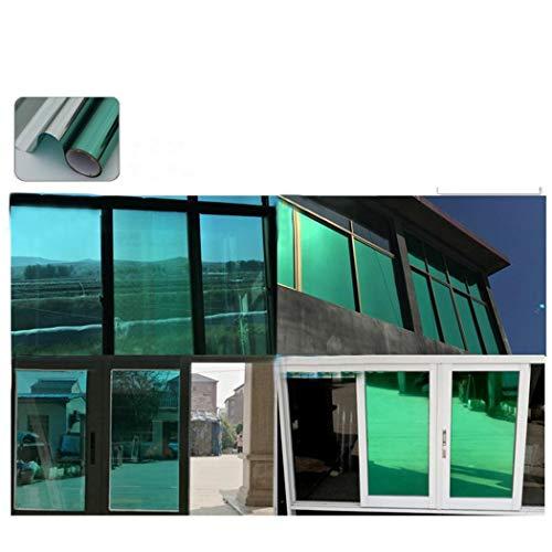 Tiowea Reflecterende raamfolie-isolatie raamspiegelsticker UV reflecterende raamfolie Reflecterende raamfolie. Groß groen zilver.