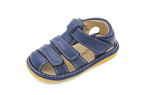 Little Mae's Boutique Navy Blue Adjustable Strap Squeaky Sandals for Toddler Boys, Ideal Toddler Walking Shoes with Removable Squeaker and Easy Adjustable Strap - Flexible Sole Baby Shoes (7)