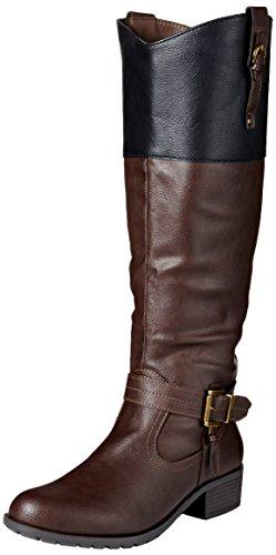 Rampage Women's Ivelia Fashion Knee High Casual Riding Boot, Brown/Black, 7.5 M US
