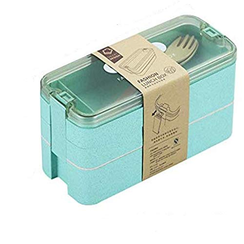 bento box for kids Lunch Box Wheat Straw Bento Boxes 3 Layer Food Box Microwave Dinnerware Food Storage Container Lunchbox for office student cute bento box ( Color : Green , Number of Tiers : 3 )