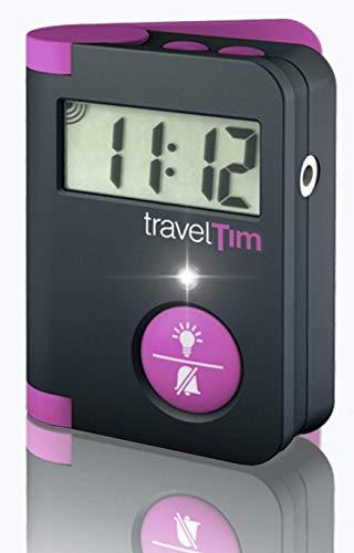 Despertador compacto de viaje con 3 tipos de alarma combinables, 85 dB, vibración potente, luz LED de alto brillo, función Snooze, retruiluminación, programación sencilla