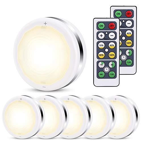 Lampe de Placard Spot LED Murale Ourway Lampes Armoire Veilleuse Luminosité réglable Autocollante Telecommande Sans Fil pour Escalier Cuisine Vitrines Cabinet Blanc 6pcs (Alimenté par batterie)