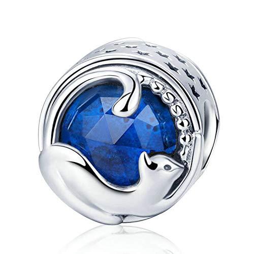 Charms con ciondolo a forma di gatto con motivo a forma di zampa di gatto, per braccialetti e collane in argento Sterling 925
