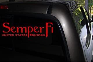 Semper Fi Car Decal (red) - Auto Decal - Truck Decal - SUV Decal - Window Sticker - Window Decal - Marine Decal - Army Decal - Military Decal - (Red)