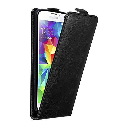 Cadorabo Custodia per Samsung Galaxy S5 Mini / S5 Mini DUOS in Nero di Notte - Protezione in Stile Flip con Chiusura Magnetica - Case Cover Wallet Book Etui