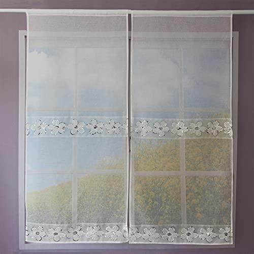 Un paio di tende da cucina traslucide, tende da soggiorno con fiori lustrini, tende decorative in vetro,60X240cm,Fiori bianchi