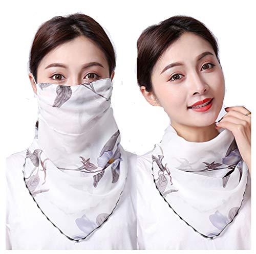 KOMI Sonnenschutz hängende Ohrschals, Anti-UV Chiffon atmungsaktiver Voll Maske dünn Schleier Gesichtsmaske für Damen (White Lily)