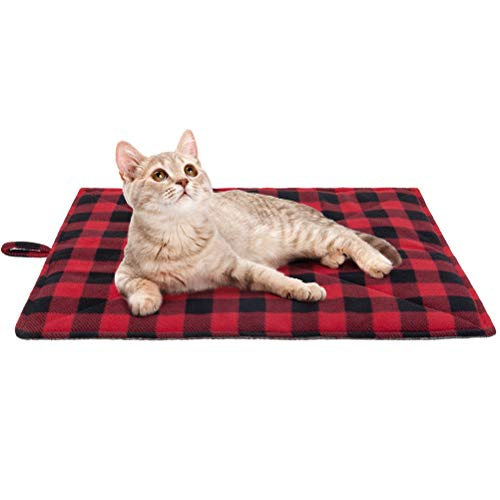 PUPTECK Cat Self Heating Bed Mat - Cozy Self Warming Washable Pet Thermal Pad with Hang Loop, Anti Slip Sleeping Bed for Kitties Puppies Small Animals, Red