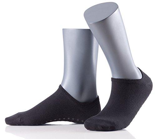 Perfect Woman Damen Stopperfüßlinge Cuddle Pads - 5er Vorteilspack - weiche Baumwoll-Sneakers mit Noppen-ABS - Antirutschsocken - Größe 33-35 - schwarz
