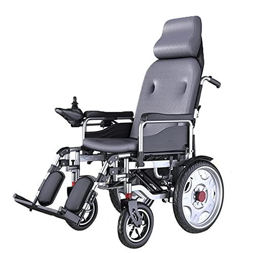qwertyuio Rollstuhl Faltbar Deluxe Silla De Ruedas Eléctrica Motorizada Plegable, Respaldo Alto Con Reposacabezas Que No Se Puede Recostar 500W Motor Potente Rueda Delantera Absorción De Gol