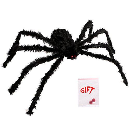 LEShop Spider Decorations,Halloween Spiders,Outdoor Halloween Spider, Hairy Poseable Spider,Scary Spider for Halloween Decorations (59 in)