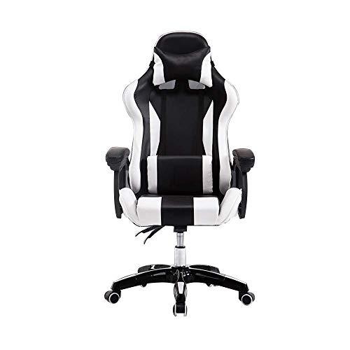N/Z Daily Equipment Chair Rennstuhl Hochdrehender Gaming-Stuhl mit hoher Rückenlehne Liegender Ergonomie-Computerstuhl mit Kopfstütze und Massage-Lendenkissen Schwarz Rot