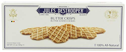 Jules Destrooper Butter Crisps - Caramelized Butter Biscuits, Kosher Dairy, Authentic Made In Belgium - 3.5oz (Pack of 4)