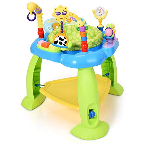 Maxmass Jumperoo Bouncer Chair, Baby Activity Centre with 360-Degree Rotating Seat, Lights, Music & Toys, Sit-to-Stand Jumper Toy for Infant Toddler Aged 6-36 Months (Blue+Green)