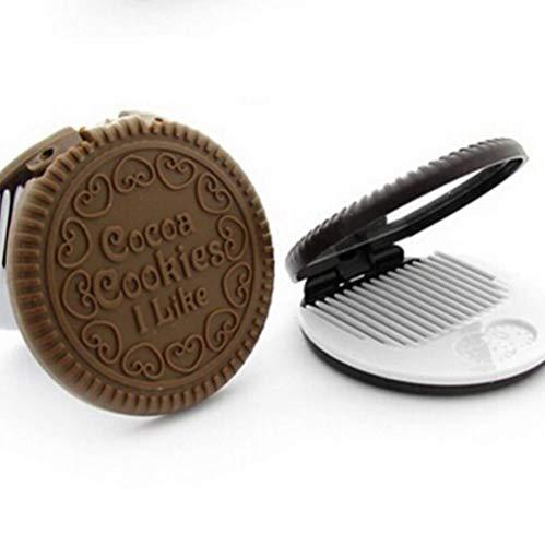 LASISZ Mini Miroir Compact de Biscuits de Biscuits au Chocolat de Poche avec Peigne si Mignon, comme Image 1pc