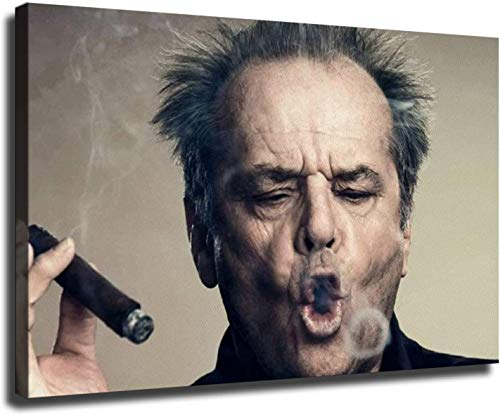 HHGaoArt Jack Nicholson Smoking A Cigar Poster Paintings on Canvas Modern Art Decorative Wall Pictures For Living Room Home Decoration (24x36inch,No Frame)
