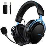 2.4G Wireless Gaming Headset, Mpow Air Over Ear Gaming Headset, 17Stunden Akkulaufzeit, abnehmbare Noise Cancelling-Mikrofon Stereo-Gaming-Headset mit USB-Sender, Gaming Kopfhörer für PS4, PC, Blau