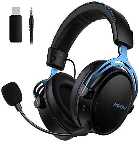 Mpow Air 2.4G Wireless-Gaming-Headset, Over-Ear-Gaming-Kopfhörer für PS4/PC/Mac/Switch, 3D-Sounds, Headset mit Zweikammer-Treiber, 17+ Stündige Wireless-Nutzung, Mikrofon mit Geräuschunterdrückung