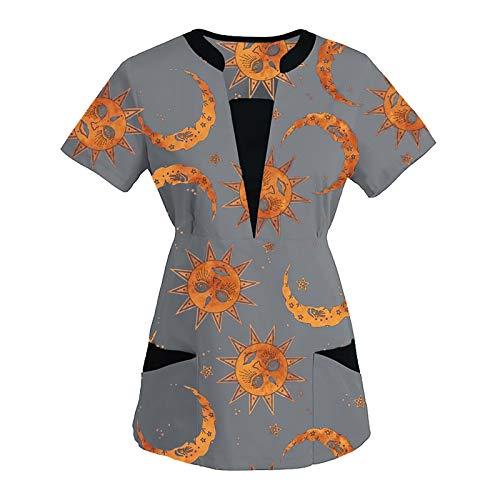 ReooLy Women Short Sleeve Plus Size t-Shirt V-Neck Tops Plain Tunic Lightweight Work Uniform Solid Patchwork Color Pocket Blouse(C-Gray,Large)