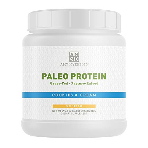 Pure Paleo Protein Powder by Dr. Amy Myers - Cookies and Cream - Clean Grass Fed, Pasture Raised Hormone Free - Non-GMO, Gluten & Dairy Free - Perfect Shake for Keto and Paleo Diet - 21g Per Serving