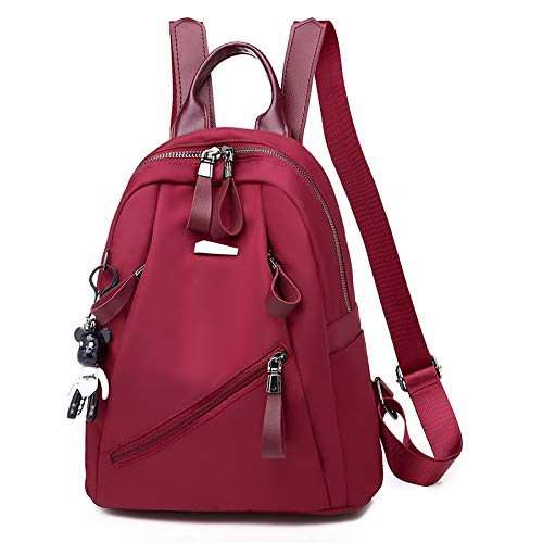 XinFeng Oxford Fabric Shoulder Bag Ladies Wild Fashion Ladies Bag Nylon Leisure Travel Small Backpack Wine Red-1