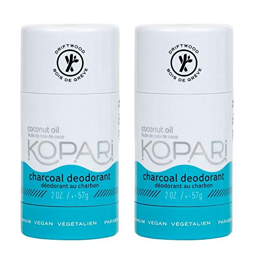 Kopari Aluminum-Free Deodorant Charcoal | Non-Toxic, Paraben Free, Gluten Free & Cruelty Free Men's and Women's Deodorant | Made with Organic Coconut Oil | 2 Pack, 2.0 oz