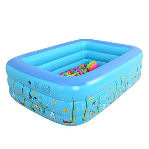 Realde Kinder Aufblasbarer Pool, Karikatur Planschbecken,Großer Family Pool, Schwimmbecken Rechteckig für Jugendliche und Erwachsene, für Garten und Outdoor(130x90x55 cm)