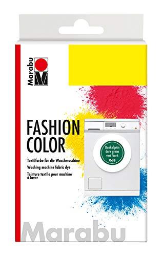 Marabu 17400023068 - Fashion Color dunkelgrün, Textilfarbe zum Färben in der Waschmaschine, kochecht, für Baumwolle, Leinen und Mischgewebe, 30 g Farbstoff und 60 g Reaktionsmittel