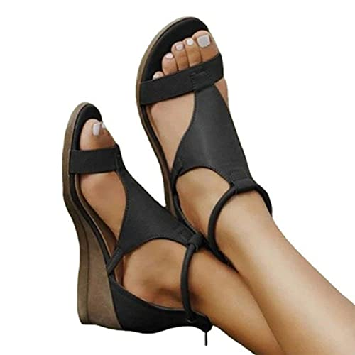 QWEZXCMI Sandalias de cuña para mujer con punta abierta, estilo gladiador, sandalias de verano, con cremallera en la espalda, sandalias de playa
