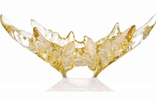 Lalique Champs Elysees Schale Gold Kristall Blatt New Box Frankreich signiert Neu in Box