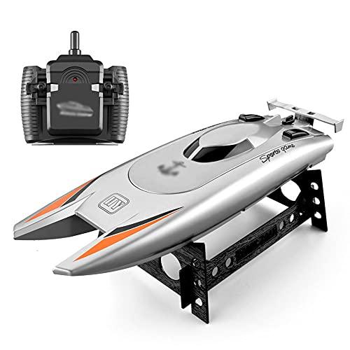QHYZRV Barco de Control Remoto de Alta Velocidad, Barco de Velocidad, Barco de Carreras, Carga de Doble Cabezal, Motores Dobles cepillados de 30 km/h, Barco RC, Resistente al Agua, Modelo de avión,