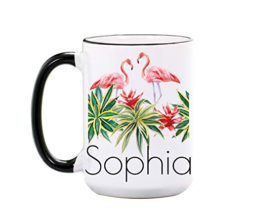 Flamingo Mug - Personalized Large 15 oz or 11 oz Ceramic Cup - Flamingo Gifts for Flamingos Lover - Flamingo Coffee Mugs - Animal Cups - Dishwasher & Microwave Safe - Made In USA
