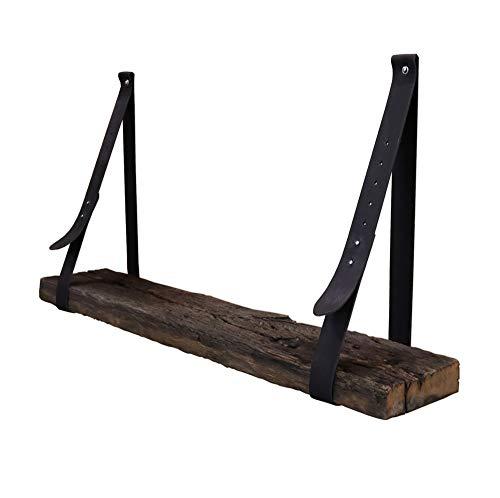 Steigerhoutpassie - Leren plankdrager - Zwart - Verstelbaar - Set - Eiken - Wagondeel Geborsteld - Echt Oud Eiken - 90cm