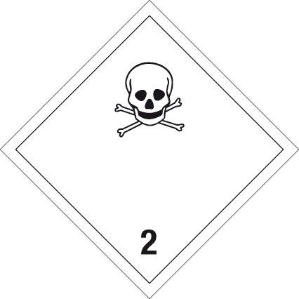 Gefahrgutschild aus Kunststoff - Giftige Gase Klasse 2 - 10 x 10 cm