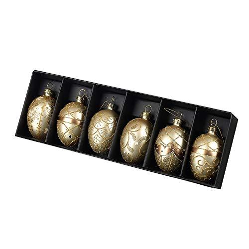 Heaven Sends - Set di palline ovali da appendere, in vetro dorato