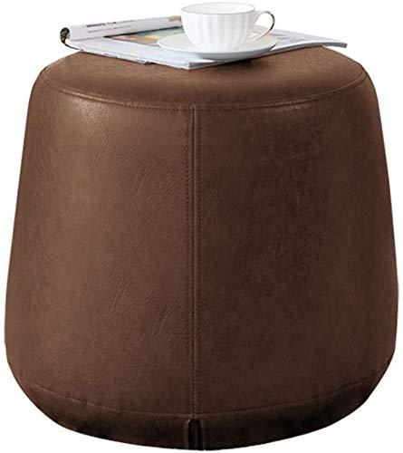 Woonkamer stoel Creative PU Leather Modern Ronde Ottomaanse, kaptafel Kruk, beklede stoel Poef for de woonkamer, slaapkamer (Kleur: Groen) (Color : Brown)