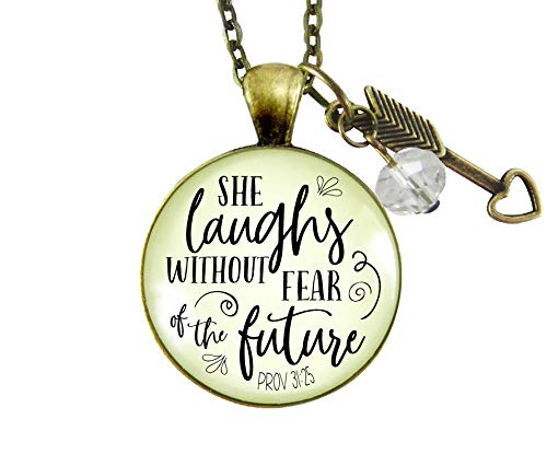 Gutsy Goodness 24' Faith Necklace She Laughs Without Fear Inspirational Pendant Jewelry For Women