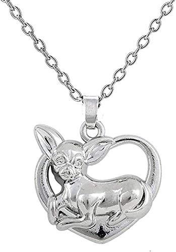 Yiffshunl Collar Moda Collar Plateado Plateado Adorable Perro Mascota Chihuahua en Corazón Colgante Collar de Cachorro para Amantes de los Animales
