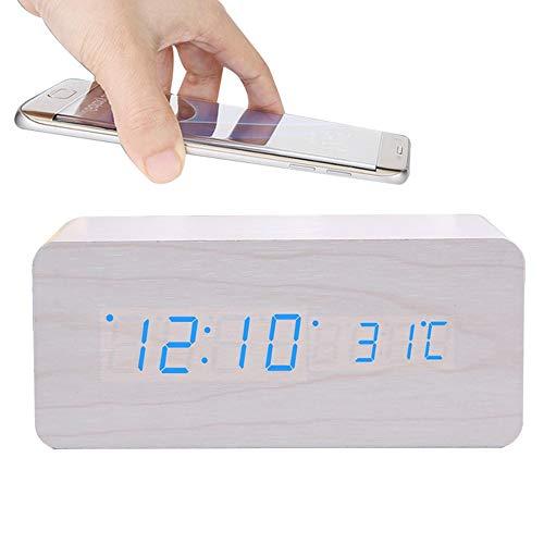 Digitale wekker nachtlampje wekker radio niet tikken met QI draadloze opladen dimbare led display draadloze opladen wekker