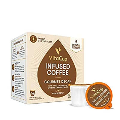 VitaCup Decaf Coffee Pods Keto|Paleo|Whole30 Friendly, B12, B9, B6, B5, B1, D3, Compatible with K-Cup Brewers Including Keurig 2.0, Top Rated Cups