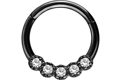 PIERCINGLINE Surgical Steel Segment Ring Clicker | 5 Crystals | Piercing Ring Nose Septum Ear Helix Tragus | Choice of Colours black