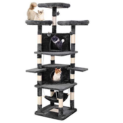 pedy Árbol Grande para Gatos, 188cm, Árbol Rascador para Gatos Multicapa con Plataforma de Observación, con Playhouse, Hamaca, Cueva, Pelota, para Gatitos, Gatos y Mascotas(gris oscuro)