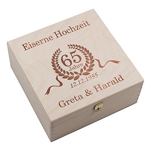 4youDesign Hufeisen-Box zur Eisernen Hochzeit • Jubiläumskranz • mit Gravur Geschenkidee mit Namen Hochzeitstag Großeltern Eltern (Jubiläumskranz, mit Gravur)
