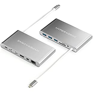 Hyperdrive Ultimate USB-C Hub for Macbook & PC, 11-in-1 Hub with built in USB-C cable USB-C 5Mbps, 60W Power Delivery, USB-C 5Gbps Data, VGA, 4K HDMI, Gigabet Ethernet 1Gb/s, Micro SD/SD Card Reader