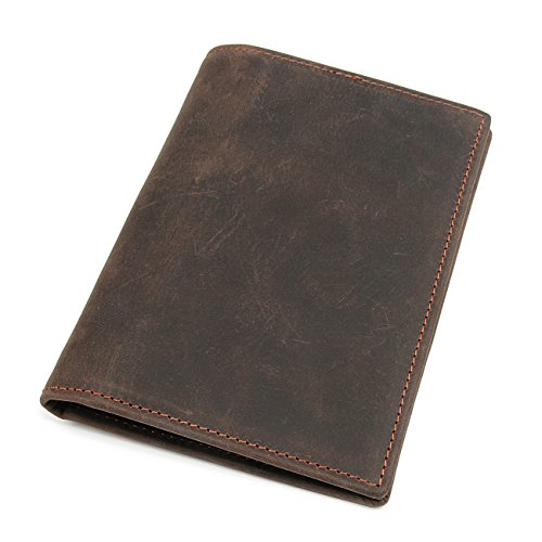 Polare Men's Slim RFID Blocking Leather Passport Holder Travel Bifold Wallet (Brown)