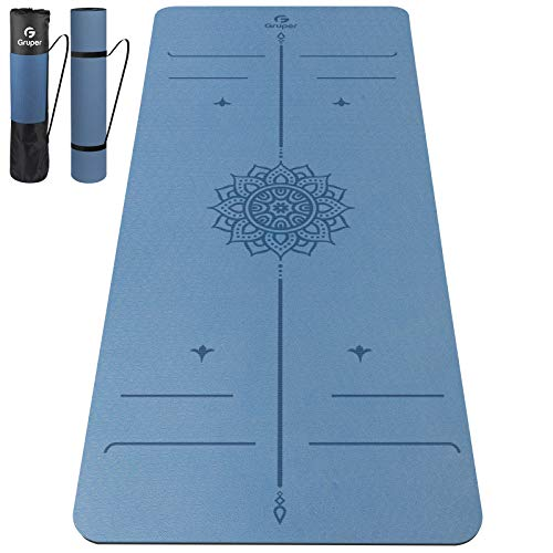 Gruper Yoga Mat Non SlipTPE 6MM 8MM Thick Exercise Mat with Carrying StrapYoga Mats for Beginners Women MenWorkout Mats for Home Pilates and Floor Exercises